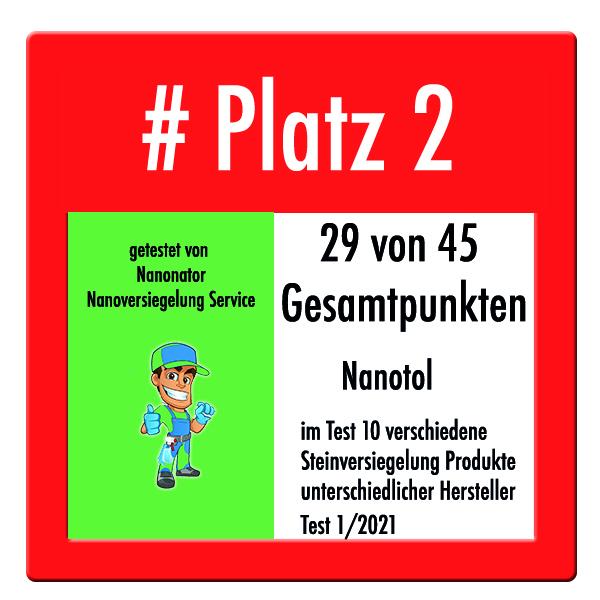 Platz 2 im Steinversiegelung Test von Nanonator Nanoversiegelung Service