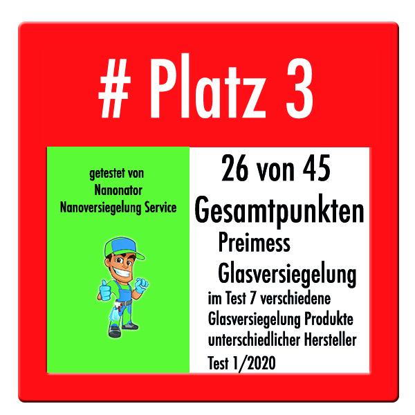 Platz3_Glasversiegelung_Nanoversiegelung Vergleichstest 2020