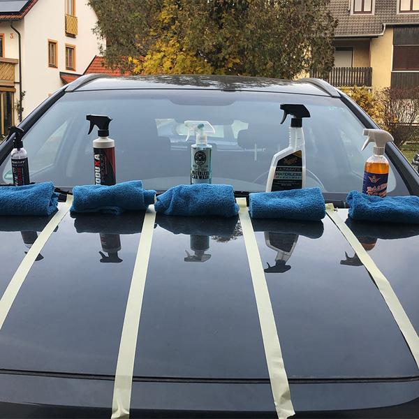 Testsieger Auto waschen ohne Wasser Shinykings Wash&Shine 66. Keine Kaufempfehlung für Gentlemonkeys Vulcanet Armorall Tücher